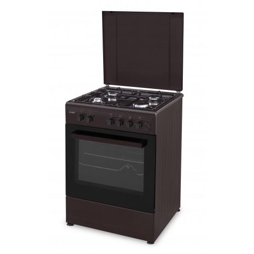 Aragaz Samus SM661MPGRS, 4 arzatoare, Siguranta plita + cuptor, Timer Aprindere Electrica cuptor + plita, Grill, Rotisor, Maro