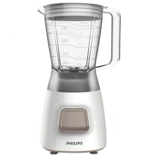 Blender Philips Daily Collection HR2052/00, 350 W, 1.25 l, 1 viteza, Pulse, Alb