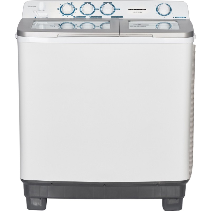 Masina de spalat Heinner semiautomata HSWM-127SL, spalare 12kg, stoarcere 7kg, Alb/Silver