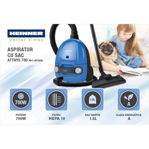 Aspirator cu sac Heinner HVC-M700BL, 700 W, sac hartie, 1.5 L, tub plastic, Albastru