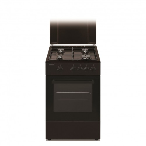 Aragaz Heinner HFSC-S50-BRW, Gaz, 4 arzatoare, Dispozitiv de siguranta plita si cuptor, 50 cm, Maro