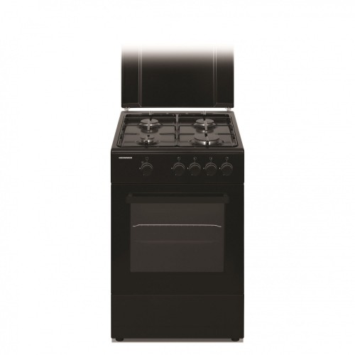 Aragaz Heinner HFSC-S50-BK, Gaz, 4 arzatoare, Dispozitiv de siguranta plita si cuptor, 50 cm, Negru