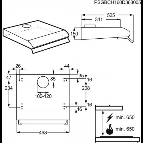 Hota traditionala Zanussi ZHT531W, Putere de absorbtie 220 mc/h, 1 motor, 50 cm, Alb