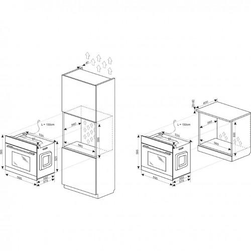 Cuptor incorporabil Hansa BOEI68162, 62 l, 8 Functii, Grill, Clasa A, Inox
