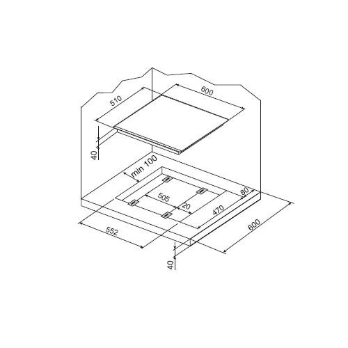 Plita incorporabila Hansa Integra BHGI61150, Gaz, 4 Arzatoare, Aprindere electrica, Gratare fonta, Inox