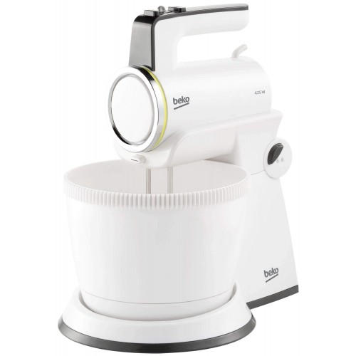 Mixer cu bol Beko Foodster HMM7422W, 425W, Bol 3 L, 4 viteze+Turbo, Alb