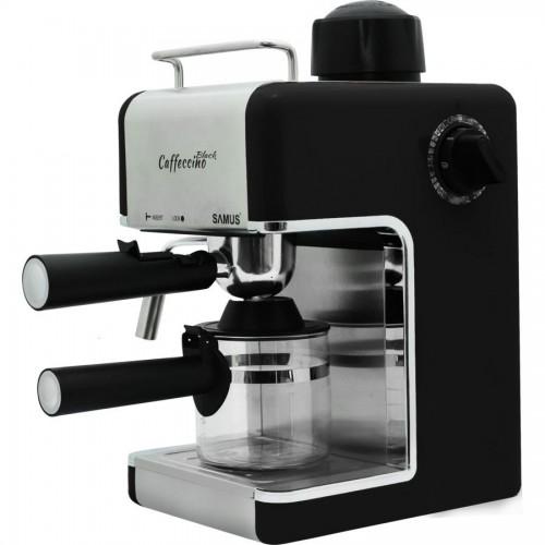 Espresor Samus Caffeccino Black, 3.5 bari, Rezervor 0.24 L, Capacitate 4 ceşti, Filtru inox, Negru
