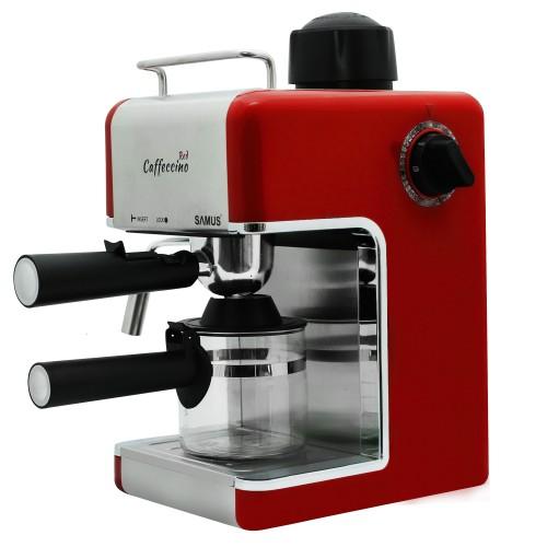 Espresor Samus Caffeccino Red, 3.5 bari, Rezervor 0.24 L, Capacitate 4 ceşti, Filtru inox, Rosu
