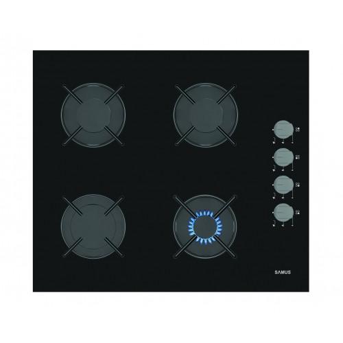 Plita incorporabila Samus PS648BSG, 4 arzatoare, Aprindere electrica, 3 Ani Garantie, Negru
