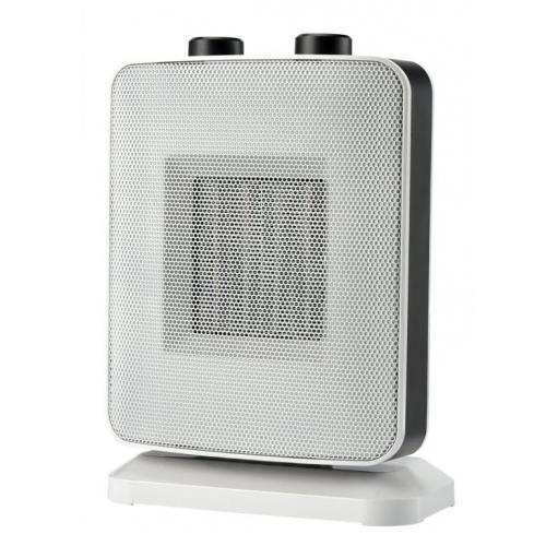Radiator ceramic Heinner HCH-L1500WH, 2 trepte, termostat, 1500 W, element de incalzire ceramic, alb - negru