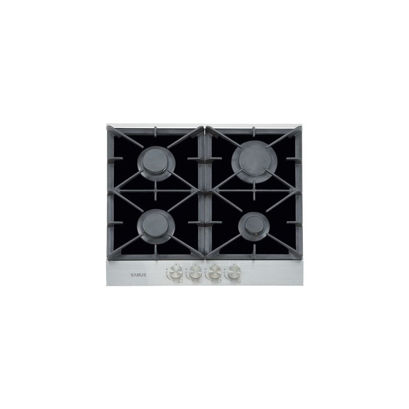 Plita incorporabila Samus PSG-64SGX1, Gaz, 4 arzatoare, Aprindere electrica, Sticla/Inox