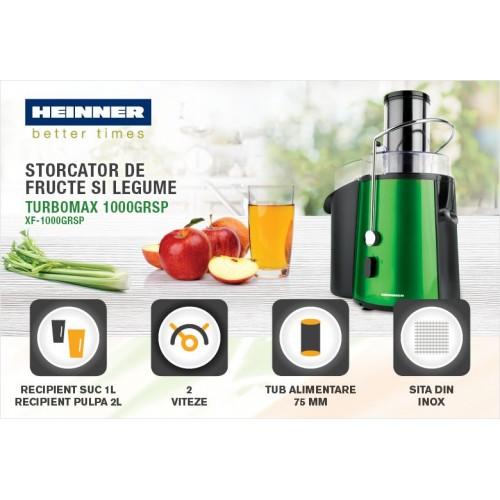 Storcator de fructe si legume Heinner XF-1000GRSP, 1000 W, Recipient suc 1 l,