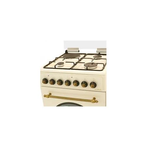 Aragaz Samus SR550EL3C, 3 arzatoare gaz+1 plita electrica, Gratare din fonta, Cuptor electric, 3 Ani Garantie, Bej