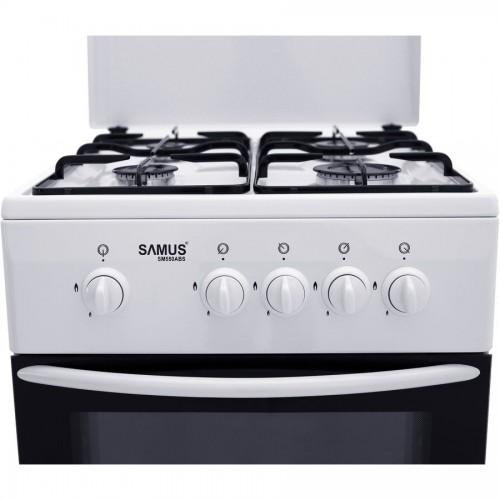 Aragaz Samus SM 550 ABS, 4 arzatoare, Siguranta plita + cuptor, 3 Ani garantie, Alb