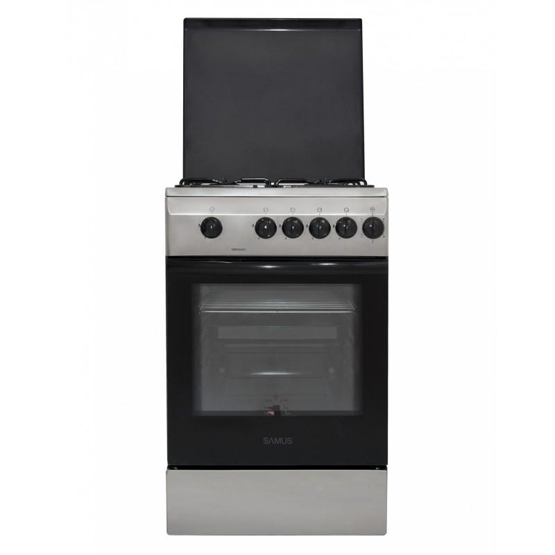 Aragaz Samus SM 550 BSS, 4 arzatoare, Siguranta plita + cuptor, Timer, 3 Ani garantie, Inox