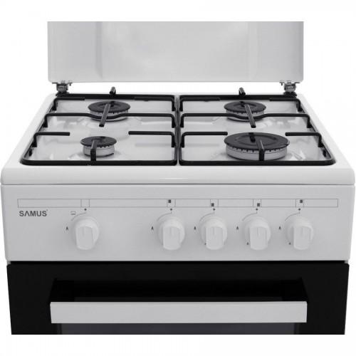 Aragaz Samus SM 450 ABS, Siguranta plita + cuptor, 4 arzatoare, 3 Ani garantie, Alb