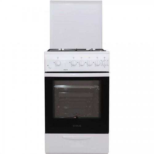 Aragaz Samus SM 550 APBS, 4 arzatoare, Aprindere electrica, Siguranta plita + cuptor, 6 Ani garantie, Alb