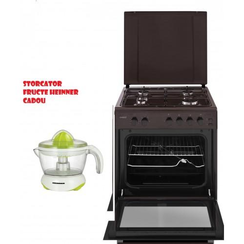Aragaz Samus SM661MPGRS, 4 arzatoare, Siguranta plita + cuptor, Timer Aprindere Electrica cuptor +Storcator fructe Heinner Cadou