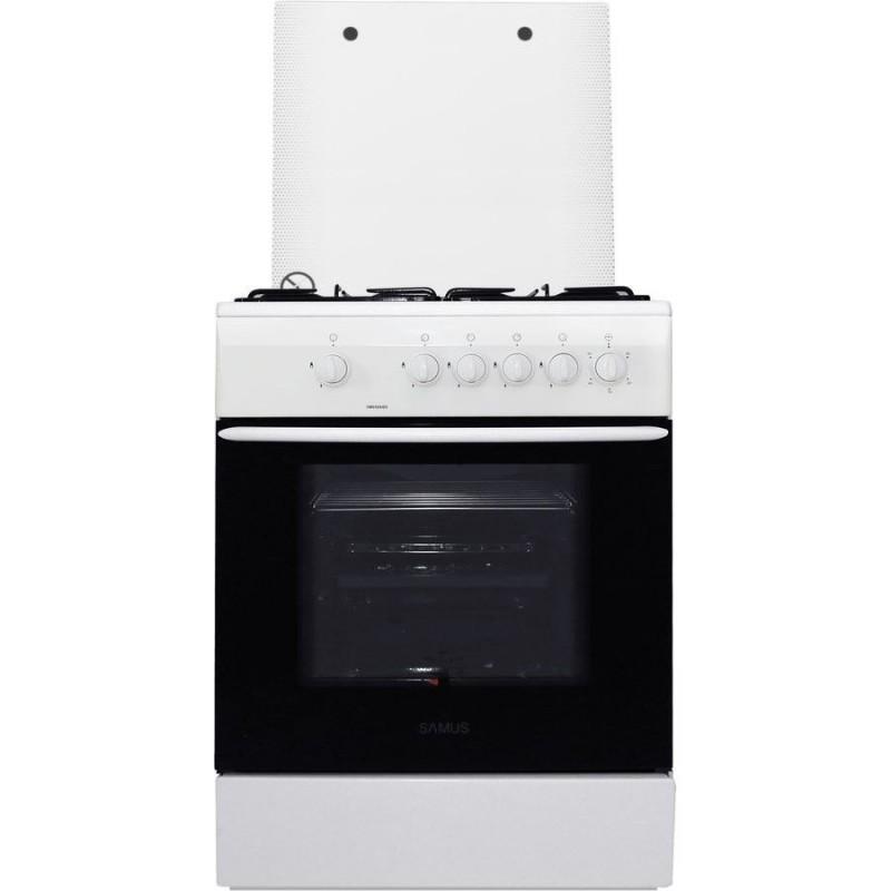 Aragaz Samus SM 650 ABS, 60 cm, Arzator WOK, Siguranta plita + cuptor, Geam dublu la cuptor, Timer, Alb