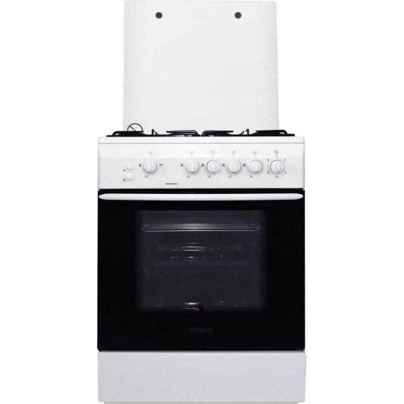Aragaz Samus SM 650 APGLS, 60 cm, Arzator WOK, Arprindere electrica, Geam dublu la cuptor, Timer, Grill, Alb