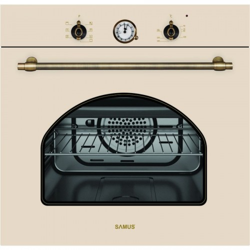 Cuptor incorporabil Samus SC620VTV, Electric, 58 litri, Clasa A, Timer, Ventilator, 3 Ani Garantie, Bej
