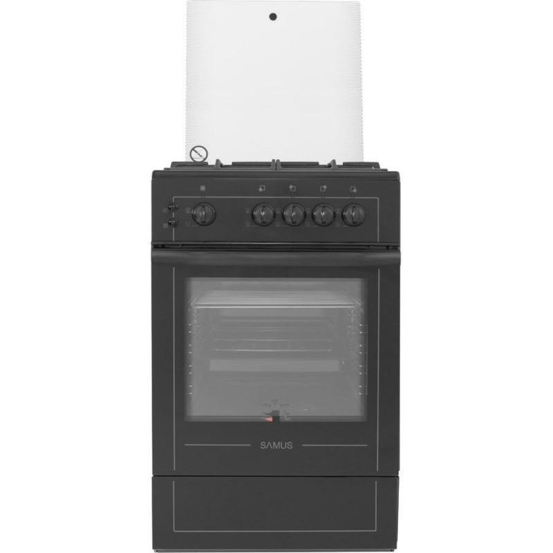 Aragaz Samus SM 550 APNL GLASS, 4 Arzatoare, Cuptor gaz, 52 litri, 3 Ani Garantie, Negru