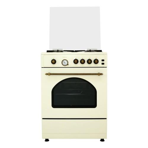 Aragaz Samus SR660G4C, 4 arzatoare, Gratare din fonta, 55 litri, Lumina cuptor, 3 Ani Garantie, Bej