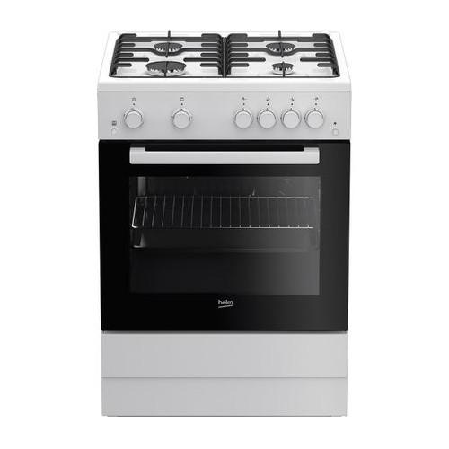 Aragaz Beko FSGT62110GWO, 4 arzatoare, Gaz, Aprindere electrica plita/cuptor, Grill, Rotisor, 60 cm, Alb