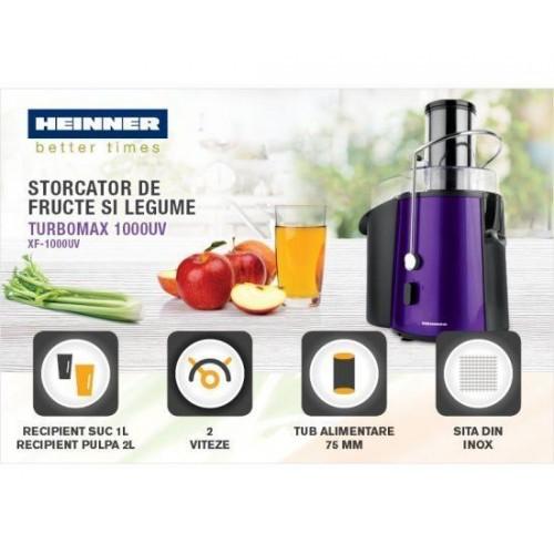Storcator de fructe si legume Heinner XF-1000UV, 1000 W, Recipient suc 1 l,