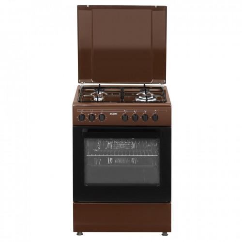 Aragaz Samus SM662AENS BROWN, 4 arzatoare, cuptor electric, 1 arzator WOK, aprindere electrica, grill