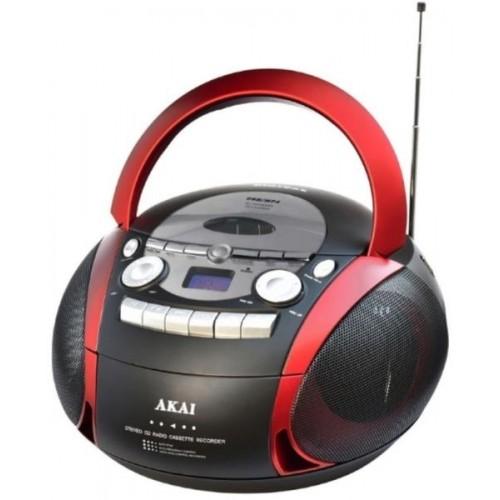 Sistem audio Akai APRC-90, radio FM, CD, MP3, casetofon, negru