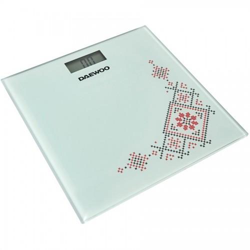 Cantar electronic de persoane Daewoo, sticla securizata 6 mm, 150 kg, 100 g, auto zero, auto oprire, Alb/Abstract