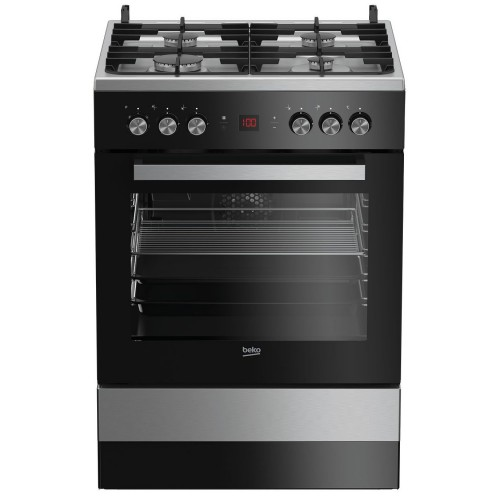 Aragaz Beko FSM62530DXMS, Mixt, 4 Arzatoare, Aprindere electrica. Grill, Gatire 3D, Timer, LED, 60 cm, Inox