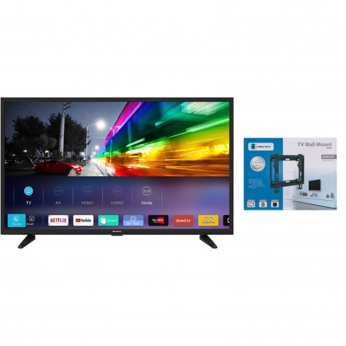 Televizor LED 81 cm Vortex V32TD1200 HD Smart TV + Suport universal LED TV 23 - 42 inch, Negru
