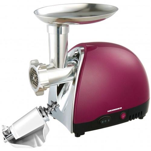 Masina de tocat Heinner MG1500TA-BG, 1600 W, Accesoriu pentru rosii si carnati, Cutit inox, Visiniu sidefat